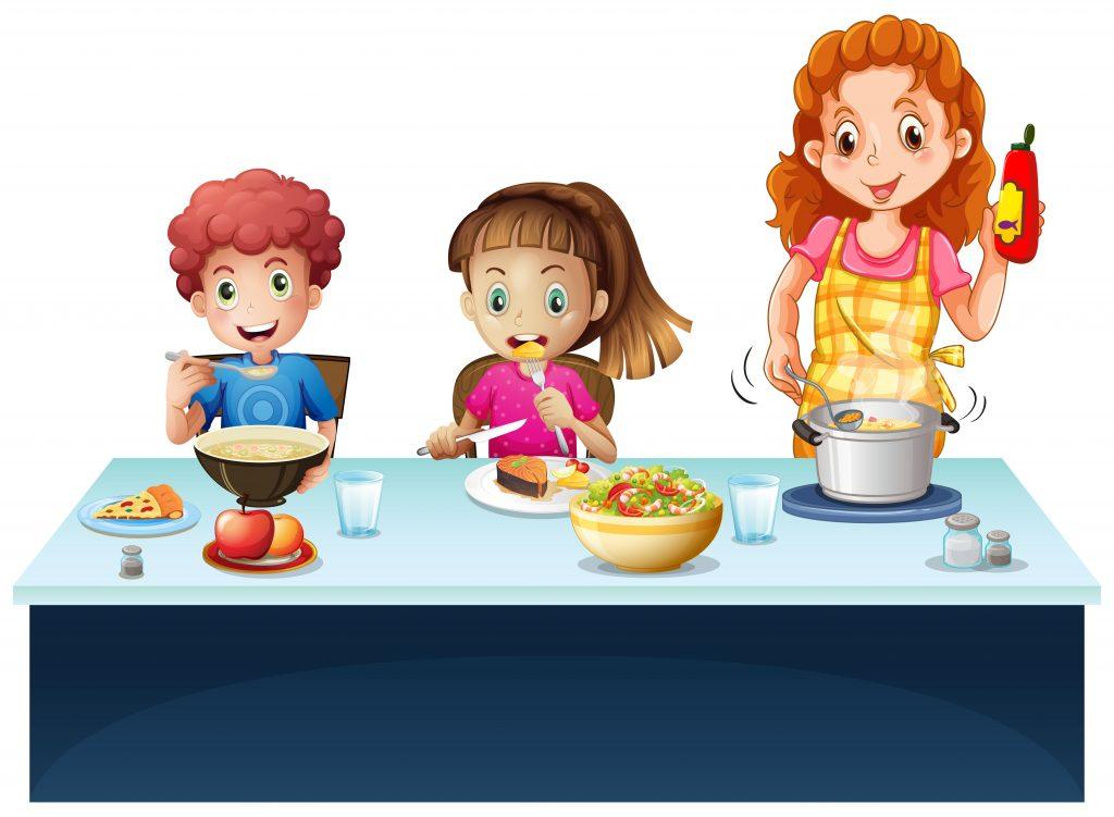grafika kobieta gotująca w garnku i dzieci jedzące obiad