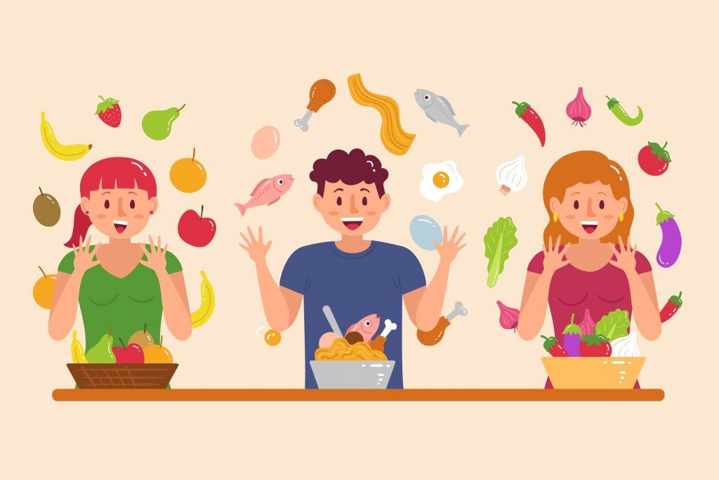 trzy osoby żąglujące jedzeniem