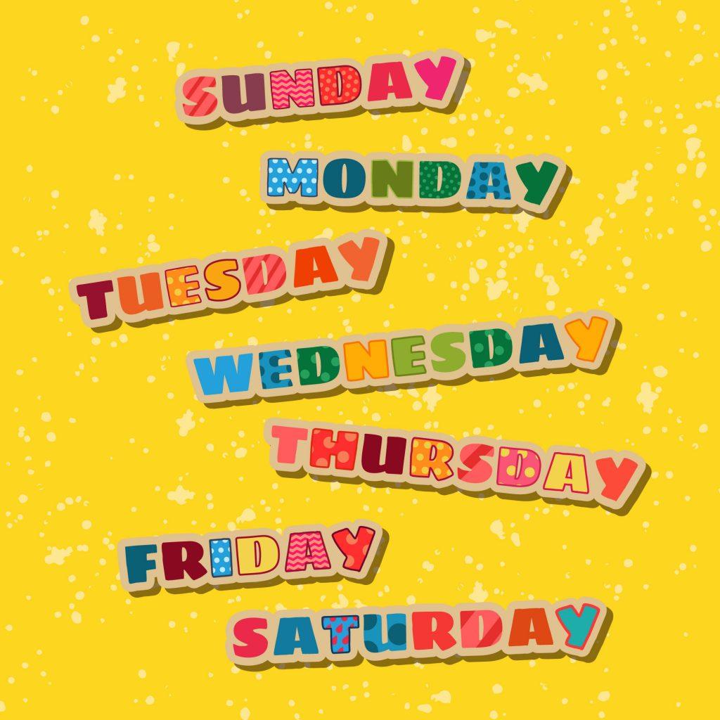 nazwy dni tygodnia w języku angielskim