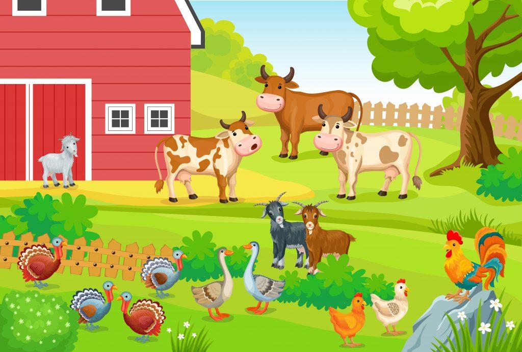 grafika farma ze stodoła i zwierzęta wokół