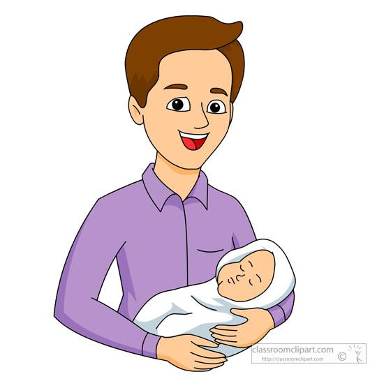 ojciec z dzieckiem na ręku