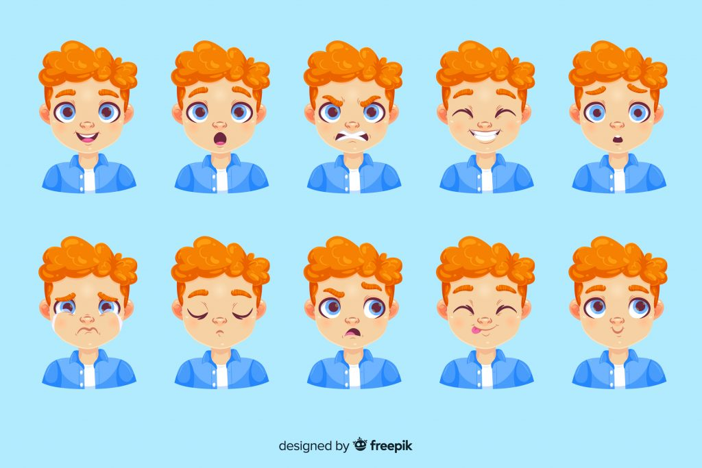 twarze przedstawiające różne emocje