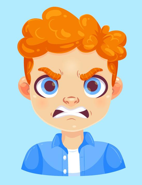 zdenerwowany chłopiec