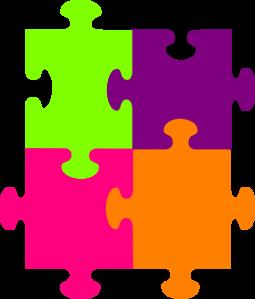 cztery kolorowe puzzle