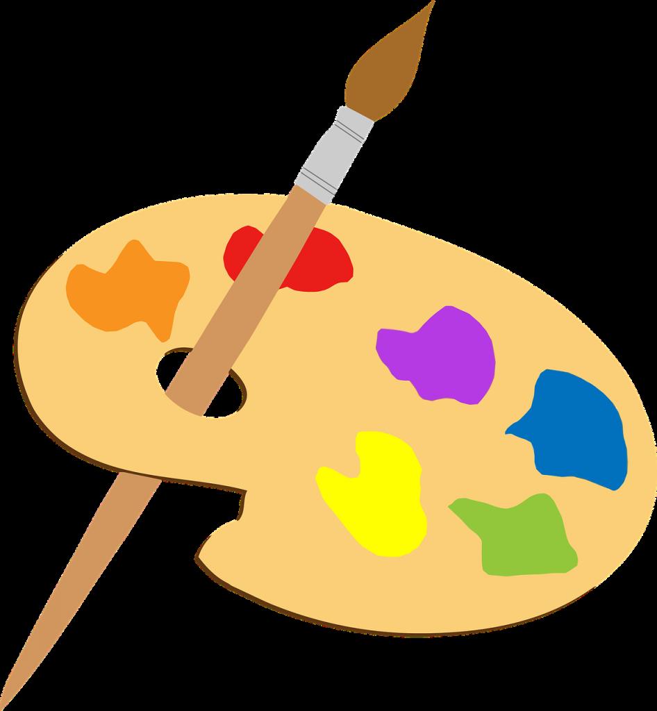 paleta z farbami i pędzel
