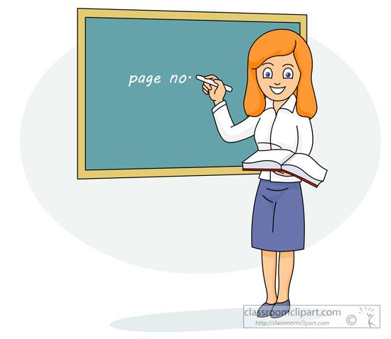 nauczycielka stojąca przy tablicy